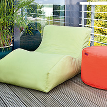 Bean bag for the garden in green and orange